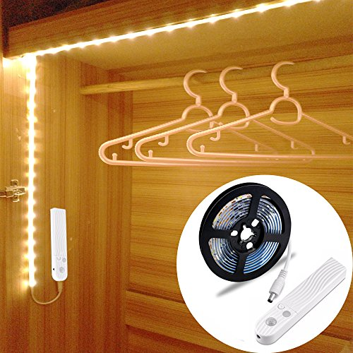 LED Schrankbeleuchtung,LUXJET 45LED 150cm LED Streifen,BatterieBetrieben Nachtlicht,3500K Warmweiß Bewegungssensor für Kinderzimmer, Schlafzimmer, Küche, Orientierungslicht,Schrank
