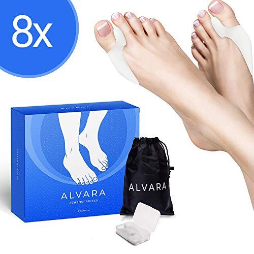 ALVARA Hallux Valgus Zehenspreizer [8x] - 2 verschiedene Modelle - Endlich schmerzfreier Laufen - Für Tag & Nacht - inkl Transportbox - BPA frei