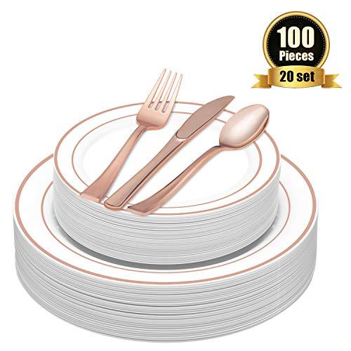 TOROTON 100 Stück Einweg Speiseteller aus Plastik mit Plastikbesteck-Set, Plastikgeschirr-Set beinhaltet: 20 x Teller, Dessertteller, Gabeln, Messer, Löffel - Rose Gold