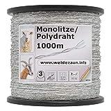 1000m Monolitze Polydraht transparent für Weidezaun Litze Elektrozaun – besonders geeignet für lange und schwierige Einzäunungen – für Schaf Rind und Ziege