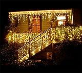 LED Lichtervorhang, 216 LED 5M Eisregen/Eiszapfen Lichterkette, LED String Licht, Lichterkettenvorhang, Weihnachtsbeleuchtung, LED Lichterkette, Weihnachtsdeko Christmas INNEN und AUSSEN, Warmweiß