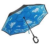 PLEMO Regenschirm Seitenverkehrter Stockschirm Golfschirm, Double Layer umgekehrt, 116 cm mit Himmel Motiv