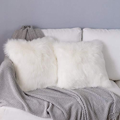 DQMEN 2Pcs Weicher Dekokissen 45 x 45 cm grau Langhaar Zierkissen dekoratives Fellimitat Sofakissen Kunstfell Kissen (2Pcs Weiß, 45 x 45cm)