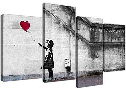 Set 4050 Banksy Leinwanddrucke, Balloon Girl, XL