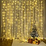 LED Lichtervorhang, VegaHome 300 LED Lichterkettenvorhang 3m*3m 8 Modi IP44 Wasserfest Lichterkette Deko für Weihnachten Innen Außen Garten Party Hochzeit Schlafzimmer, Warmweiß [Energieklasse A+++]