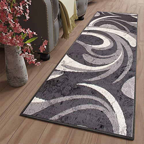 Tapiso Dream Läufer Teppich Flur Brücke Modern Wellen Streifen Linien Tropfen Muster in Creme Grau Wohnzimmer Korridor ÖKOTEX 120 x 400 cm