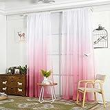 Moderner Tüll-Vorhang mit Farbverlauf für Fenster und Schlafzimmer, Voile, rose, Einheitsgröße