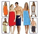 Damen und Herren Saunakilt, BIO-Baumwolle,NEUHEIT: Schlingenfeste Qualität, kein Fädenziehen mehr Grösse Damen Hellblau S bis L