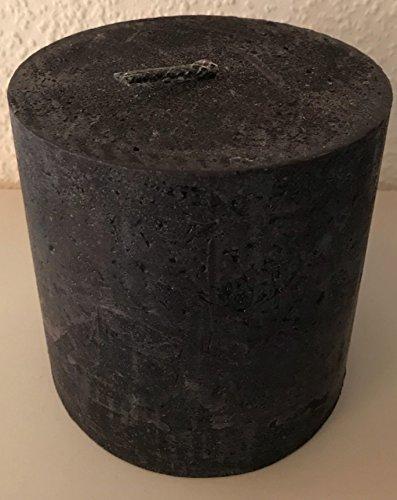 OUTDOORKERZE, dänische Kerze rustikal Flammschale, groß, Garten, Terrasse, Dekoration, Outdoor Kerze, Kerzen, Stumpen, rund, schwarz durchgefärbt, Durchmesser 15 cm, H:15 cm, Brenndauer ca 50 Std.