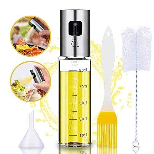 AOKMA Oil Sprayer Olivenöl Sprüher zum Kochen 4 in 1 nachfüllbare Öl- und Essigspender Flasche mit Backpinsel, Flaschenbürste und Öltrichter zum Grillen, Salat Machen, Kochen, Backen, Braten, Grillen
