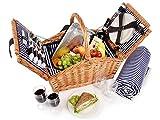 Sänger Picknickkorb 'Sylt' aus Weide | Hochwertiger Weidenkorb mit Picknickdecke und integrierter Kühltasche für 4 Personen | 24 teilig | Volumen der Kühltasche 15 L | Henkelkorb mit Picknickgeschirr