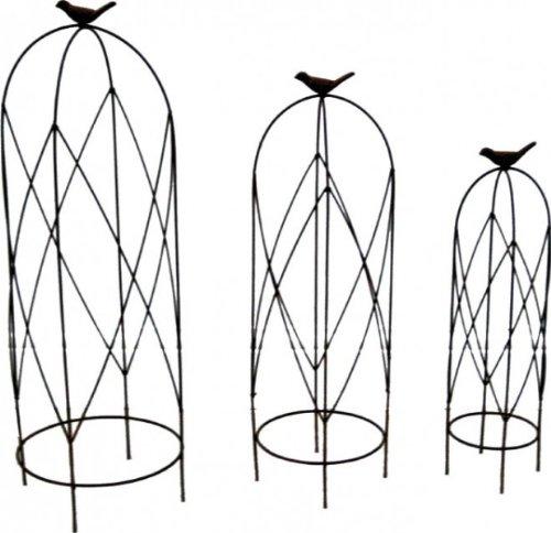KUHEIGA 3er - Set Rankgerüst Schmiedeeisen Rankhilfe Obelisk für Topf H: 53cm Eisen