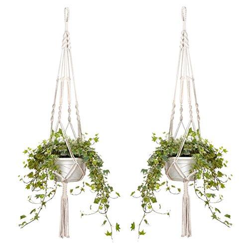 2er Set Makramee Blumenampel Baumwollseil Hängeampel Blumentopf Pflanzen Halter Aufhänger für Innen Außen Decken Balkone Wanddekoration - 105cm / 41 Zoll, 4 Beine