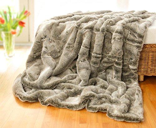 Felldecke, Tagesdecke, Webpelzdecke Grauwolf grau-beige 170x220cm
