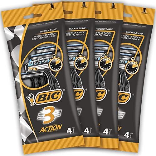 BIC 968745 3 Action Nassrasierer Set für Herren – 3 Klingen Einwegrasierer für eine schnelle und präzise Rasur – Für empfindliche Haut geeignet – Set mit 16 Rasierern