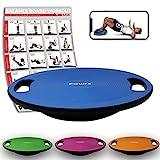 POWRX Balance Board inkl. Workout I Wackelbrett Ø 40cm mit Griffen I Therapiekreisel für propriozeptives Training und Physiotherapie Blau