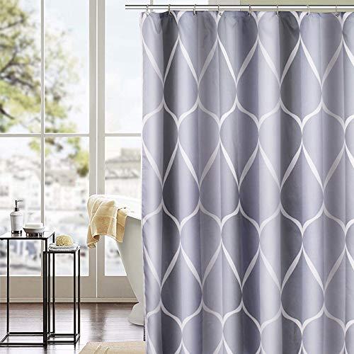Trounistro Duschvorhäng, Duschvorhang Anti-Schimmel Duschvorhang aus Polyester Wasserabweisend Shower Curtain Anti-Bakteriell mit 12 Duschvorhangringen (weiß grau, 180*200)