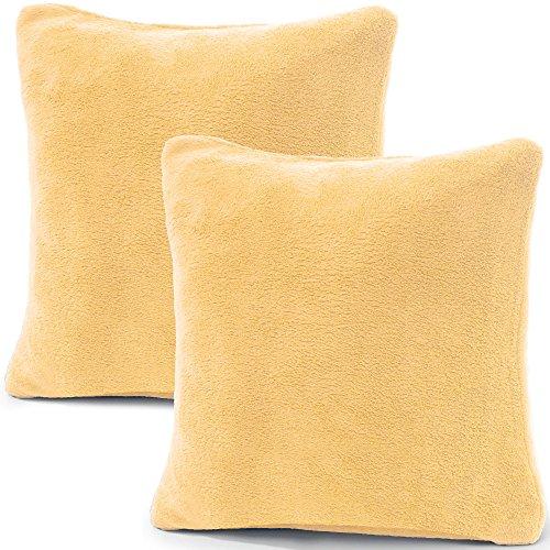 CelinaTex 2er Set Kissenbezug Doppelpack Coral Fleece Kissenhülle Seitenschläferkissen Bezug Kopfkissenbezug Nackenkissen Bezug Stillkissenhülle Comfortable