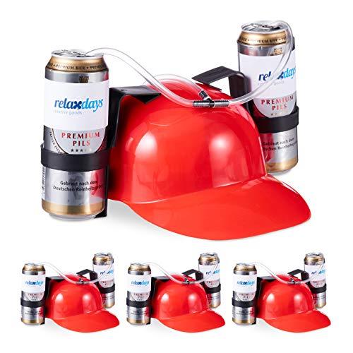 Relaxdays 4 x Party Trinkhelm, Helm mit Schlauch, für 2 Dosen Bier, Spaßartikel Fasching u. Fußball, lustiger Bierhelm, rot