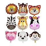 ED-Lumos 9pcs Folienballons für Kinder Baby Ballon Tiere Kopf Party Geburtstagsgeschenk Dekoration Spielzeug