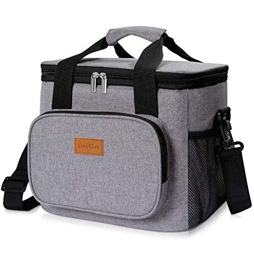 Lifewit 15L Kühltasche Picknicktasche Lunchtasche Mittagessen Tasche Thermotasche Kühltasche Isoliertasche für Lebensmitteltransport, Grau