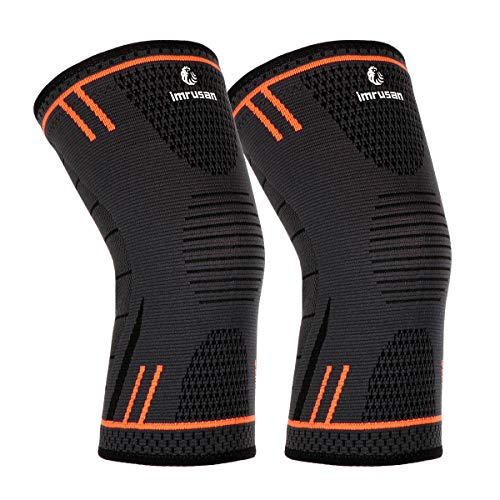 imrusan Kniebandage Kompression Knieschoner, Knieorthese Elastische Sport Knieschützer, Kniepolster Kompression Knie Sleeve für Herren Damen - Volleyball, Basketball, Crossfit (Orange,M)