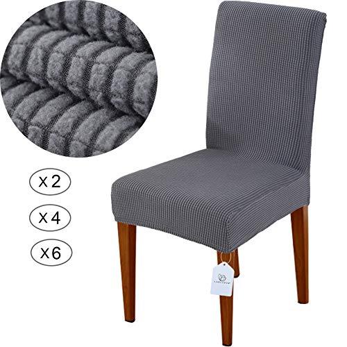 LUOLLOVE Stuhlhussen, Stretch Abnehmbare Waschbar Stuhlbezug für Esszimmerstühle,Stretch Stuhl Mit Gummiband für Esszimmer,Hotel,Bankett(2 Stück, Grau)