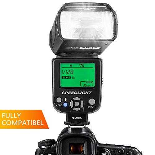 ESDDI Blitzgerät Flash Speedlite für Canon Nikon Panasonic Olympus Pentax und andere DSLR Kameras mit LCD Display