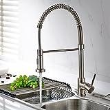 Timaco Wasserhahn Küche Einhandmischer für Küchen Spüle Gebürsteter Nickel Geschirrbrause Federbrause Mischbatterie Küchenarmatur Spültisch Armatur
