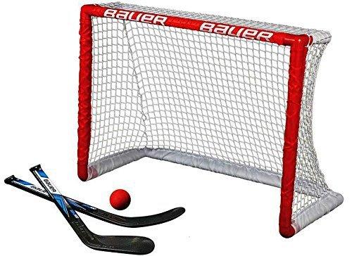 Bauer Knee Hockey Tor Set inkl. Sticks & Ball I Outdoor-/Indoor Tor I Inline-Hockey I Tor für Hockeybälle & Pucks I Streethockey-Training I Feldhockey I inkl. 2 Mini Sticks & Schaumstoffball - Rot