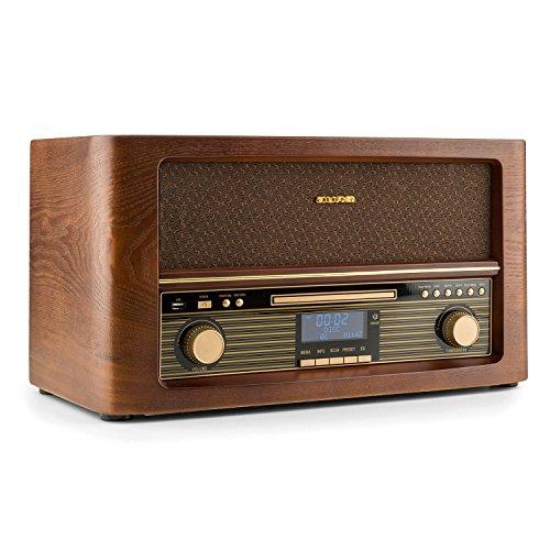 auna Belle Epoque 1906 Stereoanlage • Retroanlage • Digitalradio • UKW und DAB+ • Bluetooth • Fernbedienung • USB • Digitalisierungsfunktion • braun
