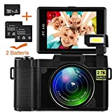 Videokamera Camcorder, Weton WiFi Digitalkamera Recorder mit 16 GB SD Karte 24,0 MP Full HD 1080P Flip Screen Vlogging Kamera für YouTube mit Taschenlampe (Zwei Batterien Enthalten)