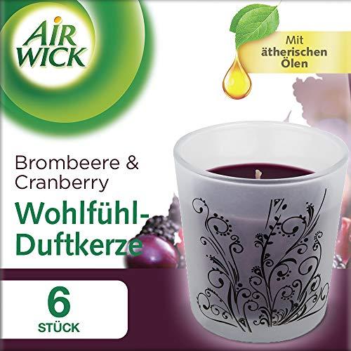 Air Wick Wohlfühl-Duftkerze Brombeere & Cranberry, Duftkerzen im Glas, Kerzenset, 6 Stück