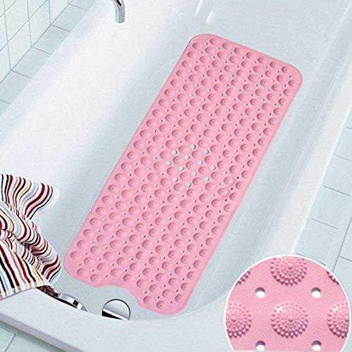 COCOCITY Badewanneneinlage Duschmatte Rutschfest aus Naturkautschuk 100 cm X 40 cm Badematte Antirutsch Badewannenmatten mit Saugnäpfen für Alter,Kinder (Blau, Pink, Weiß) (Rosa)