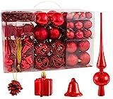 Brubaker Christbaumkugel Set mit Tannenzapfen, Weihnachtsglocken, Geschenken, Christbaumspitze - Christbaumschmuck - 101 Teile - Rot