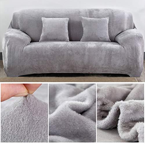 Capalta Blume Sofa-Überzug aus dickem SAMT, für 3-Sitzer Sofa Überwürfe Sofabezug Stretch Samt Sofahusse 190-230cm(75''-90'') + 2 Kissenbezug in 40 cm