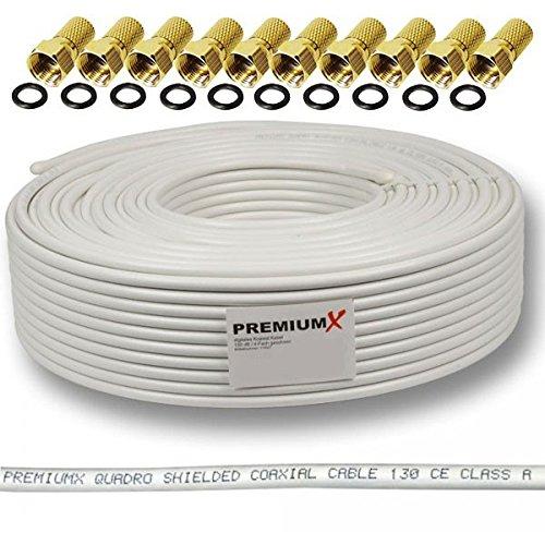 135dB 50m Koaxial SAT Kabel Antennenkabel Koaxkabel 4-fach geschirmt Koaxialkabel für DVB-S / S2 DVB-C und DVB-T BK Anlagen + 10 vergoldete F-Stecker SET Gratis dazu FULLHD 3D Digital