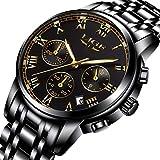 Uhren Herren Wasserdichte Edelstahl Chronograph Sport Analog Quarzuhr Männer LIGE Luxusmarke Mode Runde Armbanduhr Mann Gold Schwarz Uhr