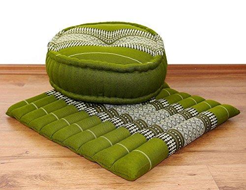 Yogaset bzw. Meditationsset: 1 x Zafukissen (Yogakissen) + 1 x Sitzkissen (Meditationskissen) mit Kapokfüllung (grün)