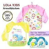 O³ Ärmellätzchen abwaschbar // 2 Baby Lätzchen mit Ärmeln // Bib für Mädchen oder Jungen wählbar // Babylätzchen wasserabweisend von 0-3 Jahren (Mädchen)