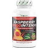 Raspberry 12000 Intenso - 12000 mg Tagesdosierung - Extra Stark - 120 Kapseln - 100% Himbeere Ketone Extrakt + Vitamin C & Folsäure- Himbeer Keton Fatburner + Diät Ergänzung + Stoffwechsel