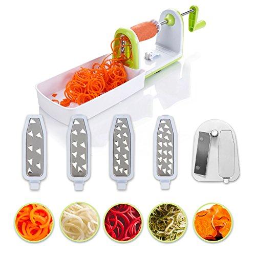 Kompakter Gemüse Spiralschneider mit 5 Klingen und Saugnapf von Twinzee - 5 schnell auswechselbare Klingen – Benutzerfreundlicher Gemüseschneider zur Verarbeitung Ihres Gemüses und Obsts