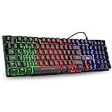 Rii RK100+ Gaming Tastatur USB, 105 Tasten, Regenbogen Beleuchtete Tastatur, 19 Tasten Anti-Ghosting, Wired Keyboard ideal für Gaming und Büro(DE Layout)