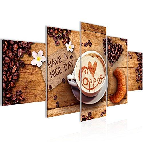 Bilder Kaffee Coffee Wandbild 100 x 50 cm Vlies - Leinwand Bild XXL Format Wandbilder Wohnzimmer Wohnung Deko Kunstdrucke Braun 5 Teilig - Made IN Germany - Fertig zum Aufhängen 501252a