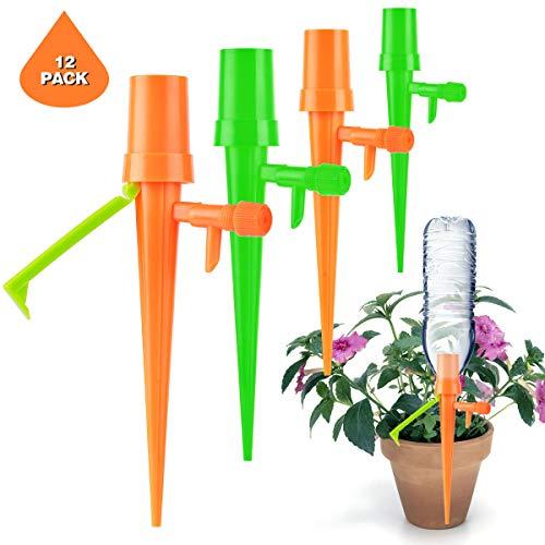 JOLVVN Automatisches Bewässerungsset Bewässerungshilfer Garten Bewässerungssystem von 12 Bewässerung Set Bewässerungsspike Blumen-Bewässerungsflasche Sprinkler