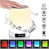 LED Lichtwecker, HY Nachttischlampe mit Bluetooth Lautsprecher, LED Nachtlampe 3 Helligkeitsmodi/7 Farben USB Stimmungslicht mit Dimmer und Touch Sensor für Kinder/Freunde MEHRWEG