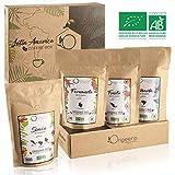 BIO Kaffeebohnen Premium Probierset  Arabica Kaffee Ganze Bohnen Set 4x250g  Traditionelle Röstung  Säurearm  Geschenk-Idee für Kaffeekenner