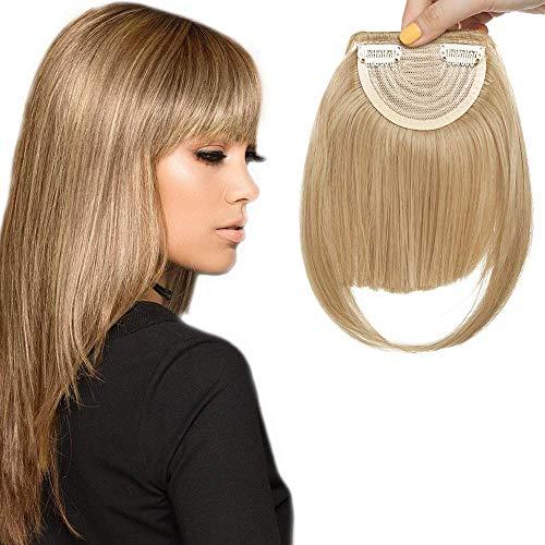 Clip in Pony Haarteil Extensions Fringe Bangs One Piece In Front Hair Verlängerung glatt wie Echthaar Mittelblond
