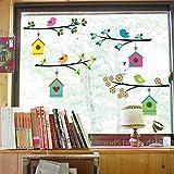 WandSticker4U- Wandsticker 'niedliche Vogel Familie' | Breite je Zweig: 75cm | Wandtattoo Baum Zweig Blumen Fensterbild Vögel | Aufkleber Deko für Flur Küche Kinderzimmer Wohnzimmer