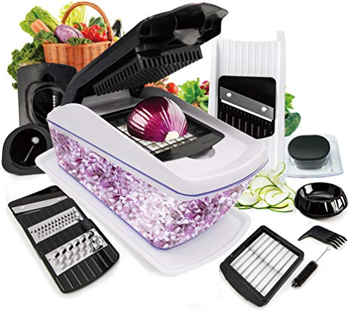 Fun Life Gemüsehobel 18 Teillig, 8 in 1 Gemüseschneider Set Zwiebelschneider aus Edelstahl Multireibe Ideal für Gemüse und Obst (8 in 1)